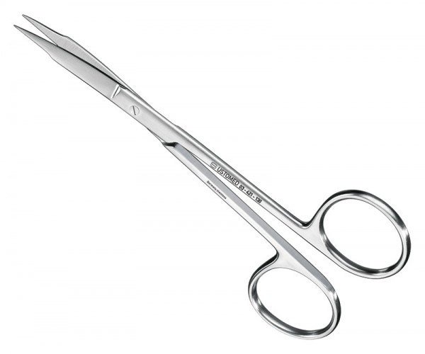 FOX, suture-/gum scissors, 13cm, cvd., plain