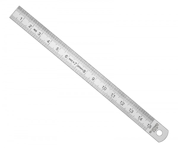 Ruler, 15 cm, metal - only for comparitive measurements -